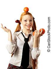 Oranges on a head