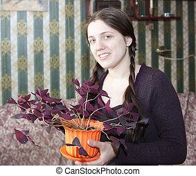 Girl with oxalis
