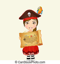 girl with parchment treasure hunt