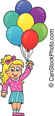 Girl with party balloons theme 1