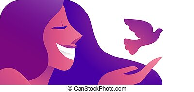 Girl with peace dove bird concept web banner