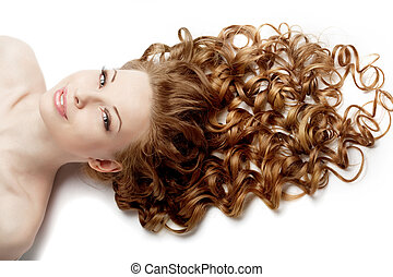 Girl with perfect curls - Image of girl with perfect curls