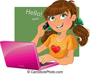 girl with phone and pink laptop - Brown-haired girl with...