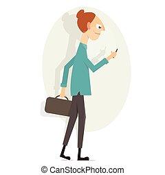 Girl with phone. Cartoon character.