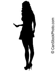 Girl with phone on white