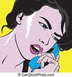 Pop Art inspired girl using a phone