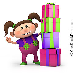 girl with pile of presents - cute cartoon girl waving from...