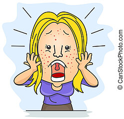 Girl with Pimples - A Shocked Woman With Pimples Scattered...