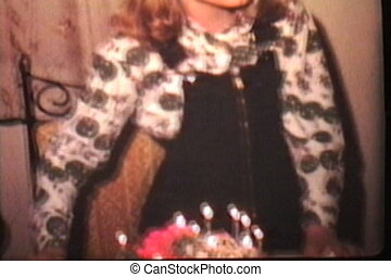 Girl With Pink Birthday Cake 1978