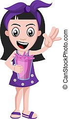 Girl with pink juice, illustration, vector on white background.