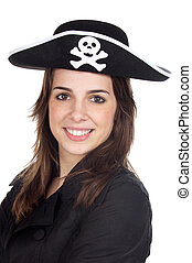 Girl with pirate hat