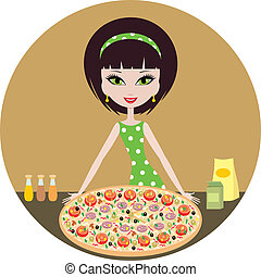 Girl with pizza