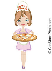 Girl with pizza.