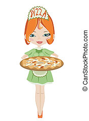 Girl with pizza, vector.