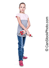 Girl with pliers and nippers