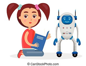 Girl with Ponytails Reads Book Beside Small Robot