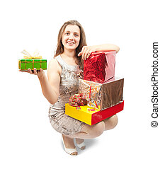 girl with present box