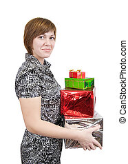 girl with present boxes