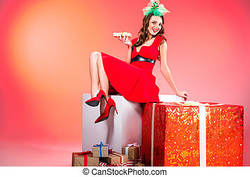 girl with presents and gift boxes