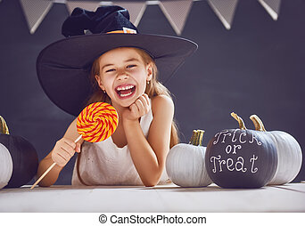 girl with pumpkin