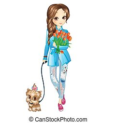 Girl With Puppy And Flowers
