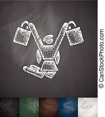girl with purchases icon. Hand drawn vector illustration