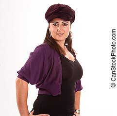 Girl with purple cap