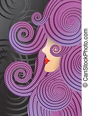 girl with purple curly hair, in the