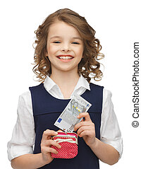 girl with purse and paper money - picture of beautiful girl...