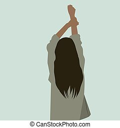 Girl with raised hand, illustration, vector on white background.