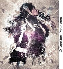 Girl with ravens manipulation