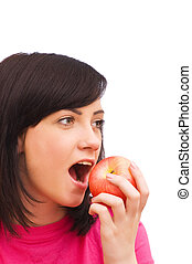 Girl with red apple isolated on white