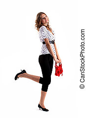 Girl with red bag - Portrait of the girl on white background