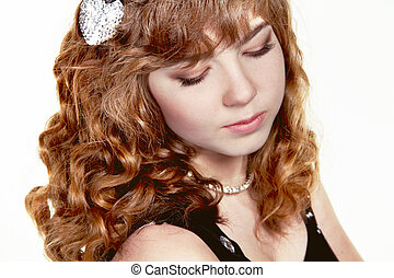 Girl with red curly health hair style, studio salon