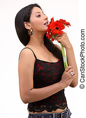 girl with red daisy flowers