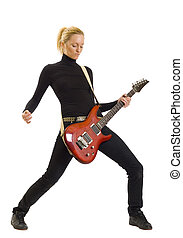 girl with red electric guitar