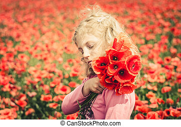 girl with red flowers against red floral background