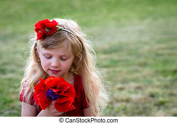 girl with red flowers