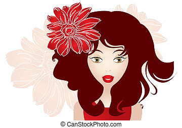 Girl with red hair and flower
