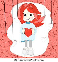 Girl with red hair and heart