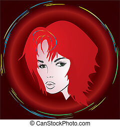 girl with red hair, - composition with a portrait of a girl...