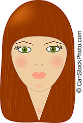 girl with red hair - Vector illustration of girl with red...