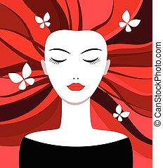 Girl with red hair. Witch. Butterflies in her hair. Vector...