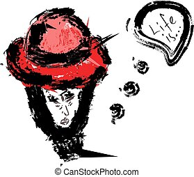 Girl with red hat, illustration, vector on white background.