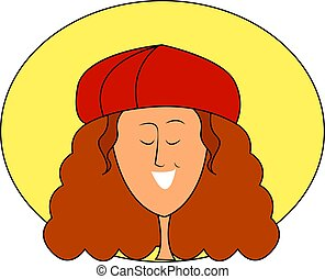 Girl with red hat, illustration, vector on white background