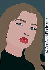Girl with red lips, illustration, vector on white background.