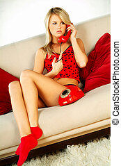Girl with red phone