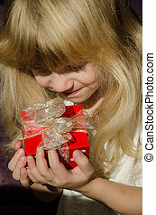 girl with red present