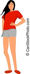 Girl with red shoes, illustration, vector on white background.