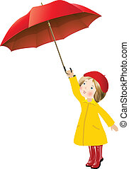 Girl with red umbrella - little girl in yellow raincoat...
